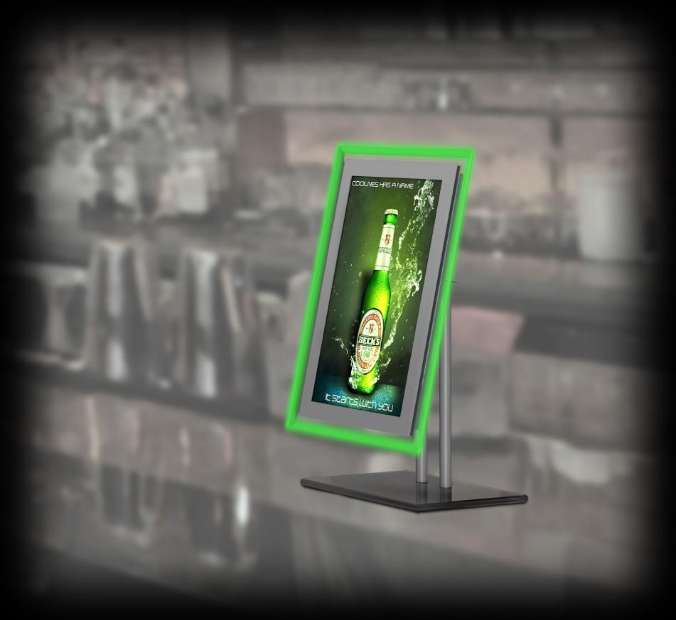 Настолен Рекламен Дисплей с 15,6 LCD екран и светещ кант